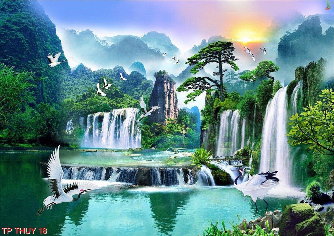 Tranh 3d, Tranh dán tường 3d, Tranh lụa 3d, Mẫu mã đẹp, Tranh Khánh Linh.
